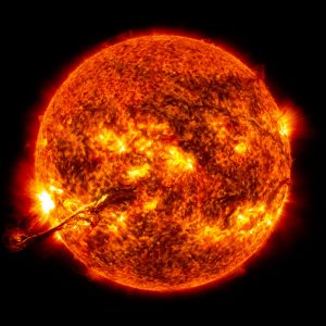 On August 31, 2012 a long filament of solar material that had been hovering in the sun's atmosphere, the corona, erupted out into space at 4:36 p.m. EDT. The coronal mass ejection, or CME, traveled at over 900 miles per second. The CME did not travel directly toward Earth, but did connect with Earth's magnetic environment, or magnetosphere, with a glancing blow. causing aurora to appear on the night of Monday, September 3.
